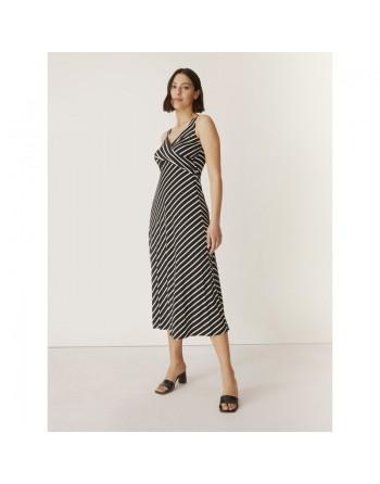 Longue robe marine rayée...