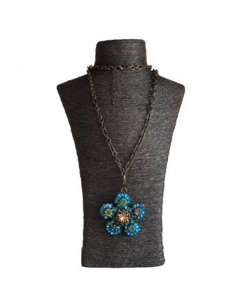 Long collier strass bleu