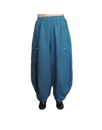 Pantalon large en lin bleu