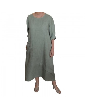 Longue robe en lin vert amande