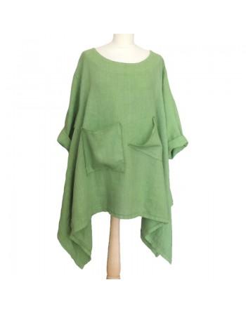 Longue tunique en lin verte