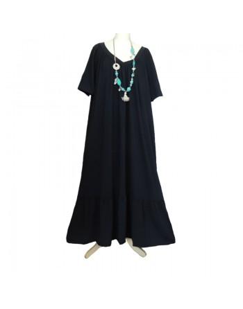 Longue robe noire en coton
