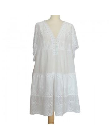 Robe dentelle coton blanche