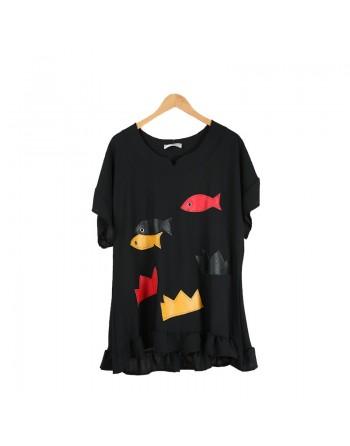 Tunique noire motif poisson