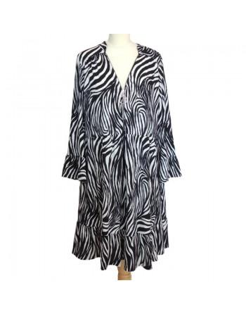 Robe tunique noire et blanche