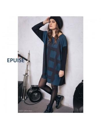 Robe tunique noire et bleue